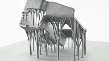 A part demonstrating support structures automatically generated by Materialise's Magics software (Courtesy Materialise)