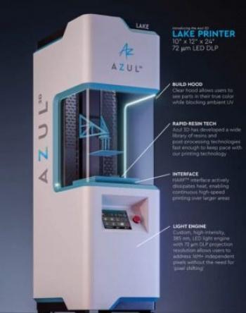 AZUL 3D объявила о выпуске LAKE - своего первого коммерческого 3D-принтера