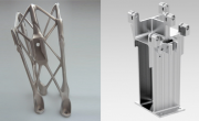 Additively manufactured metal bracket for space applications (left) and the original version (right) (Courtesy RUAG Space)